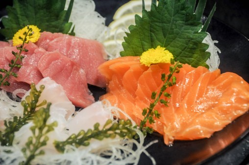 Raw seafood delights Tuna and salmon sashimi