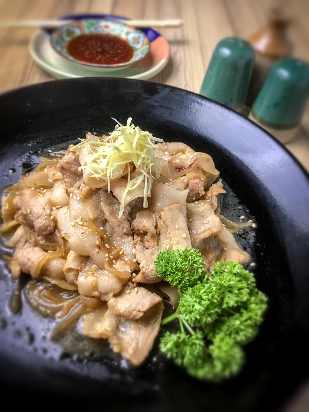 Buta Shogayaki (Pork Saute with Ginger) This delectable pork dish is perfectly seasoned with gentle zing of ginger.