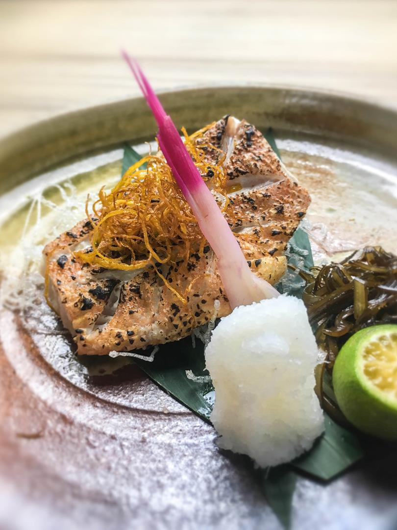 White fish is given a modern-day grill twist at Kitsho's yakimono options.