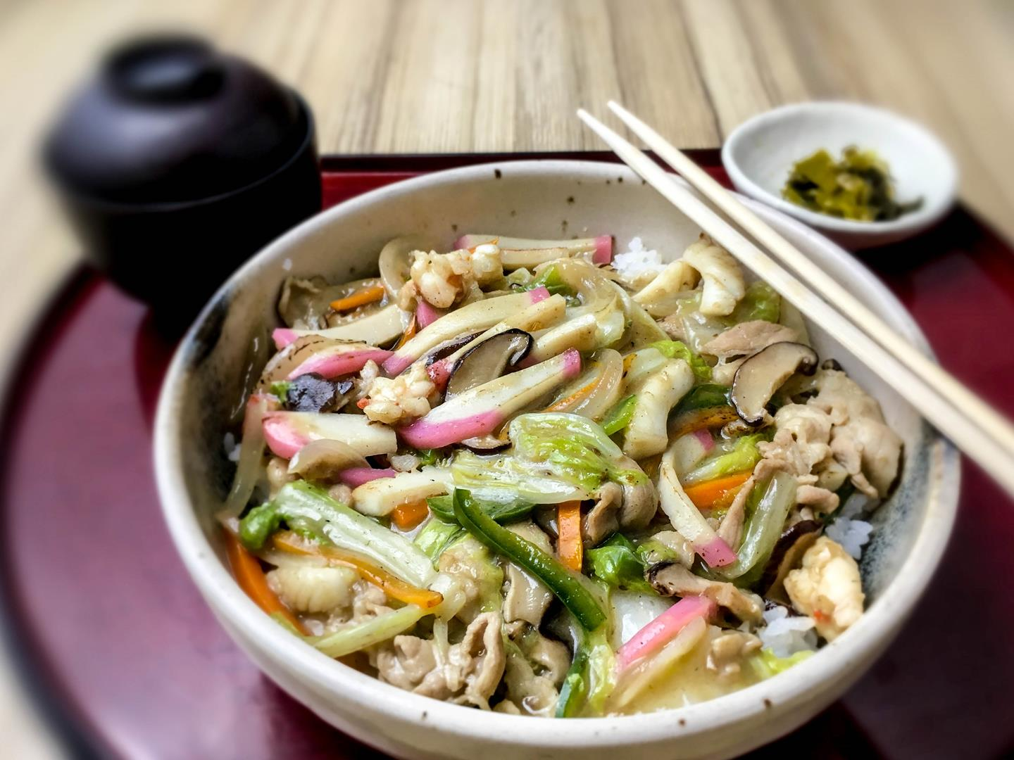Chopsuey, prepared the Japanese way, is one of Kitsho's savory rice meals.
