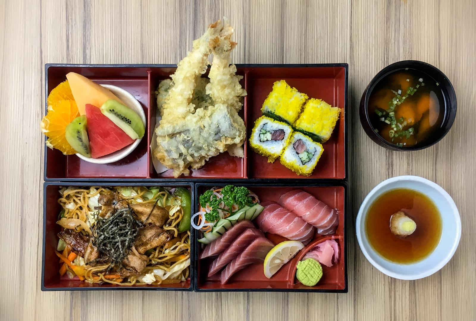 The Kitsho Special bento box is for lovers of shrimp tempura and yakisoba.