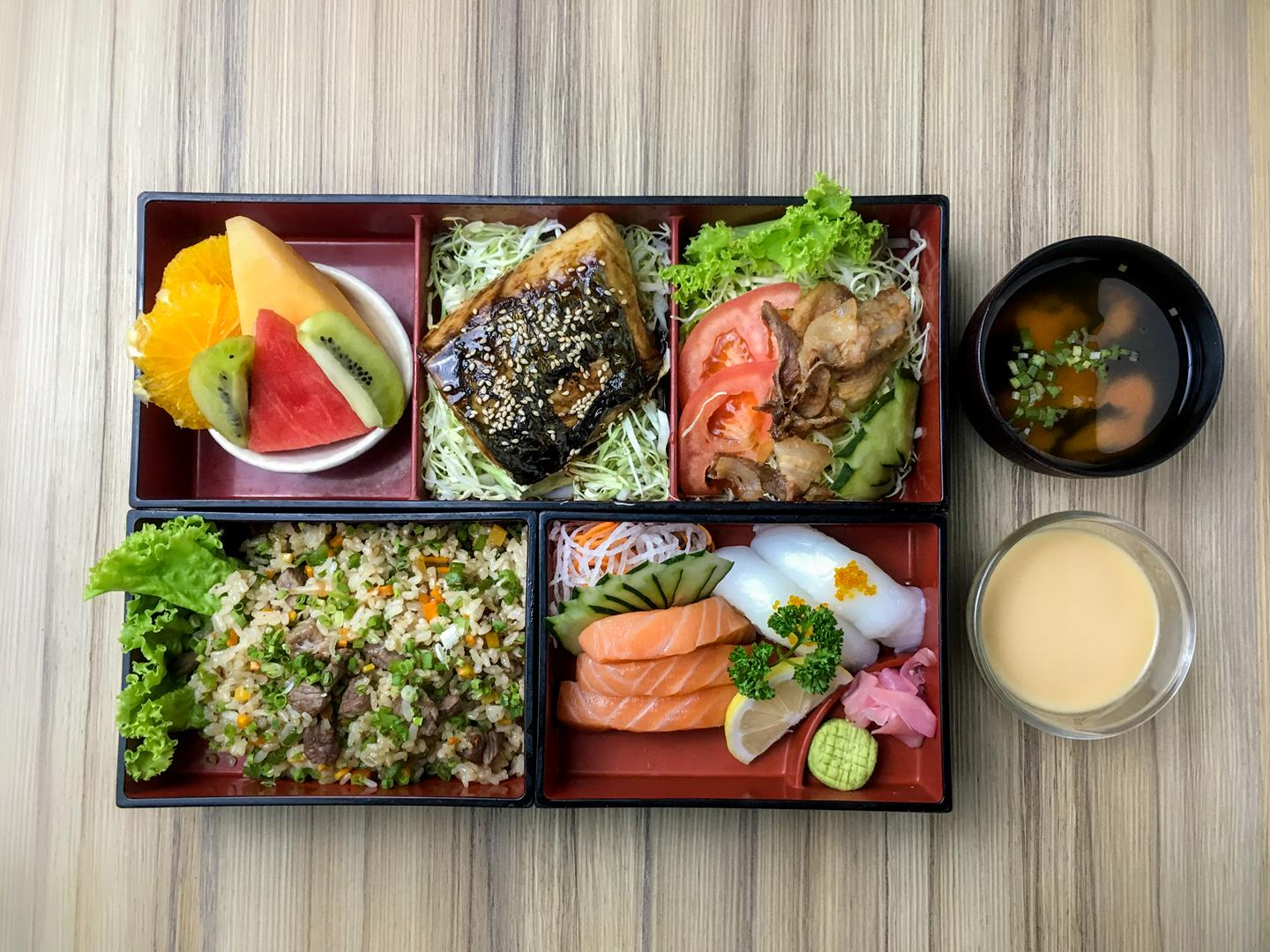 The Mediterranean bento box is for diners who prefer grilled kingfisher (sawara) and Ika nigiri.