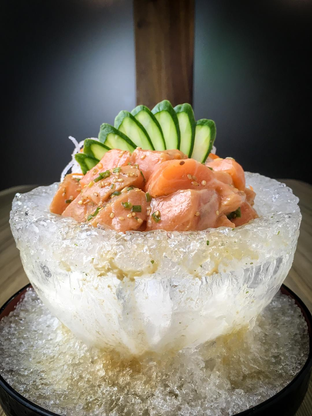 Salmon Sashimi Salad- Marinated Salmon in Special Aokakesu Dressing in a Plate of Ice